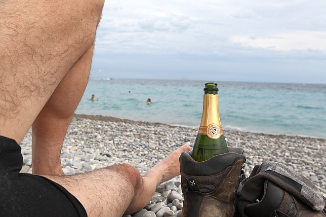 Champagnertrinken an der Florida Beach in Nizza :)